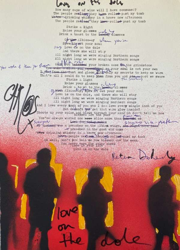 Love On The Dole Lyric Sheet *Signed* - The Libertines