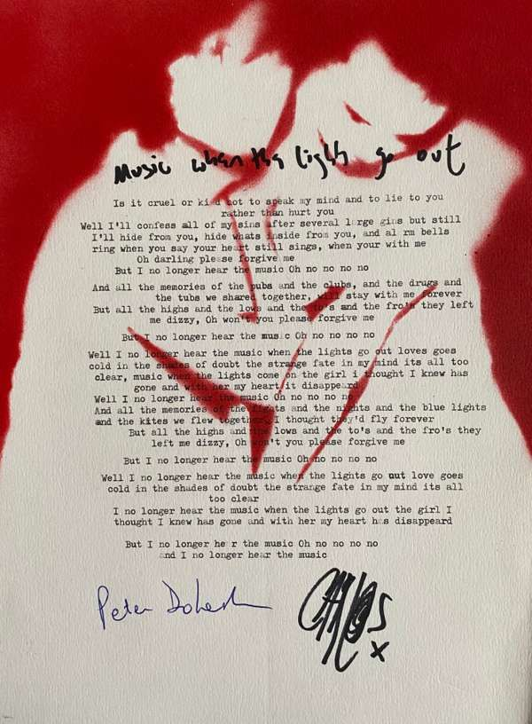 Music When The Lights Go Out Lyric Sheet No.1 *Signed* - The Libertines