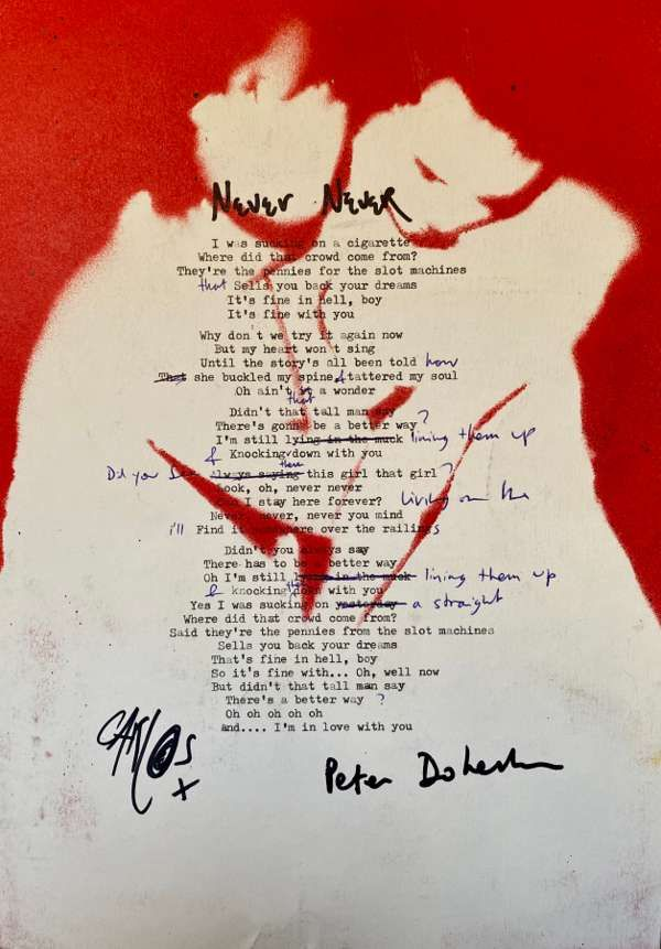 Never Never Lyric Sheet No.1 *Signed* - The Libertines