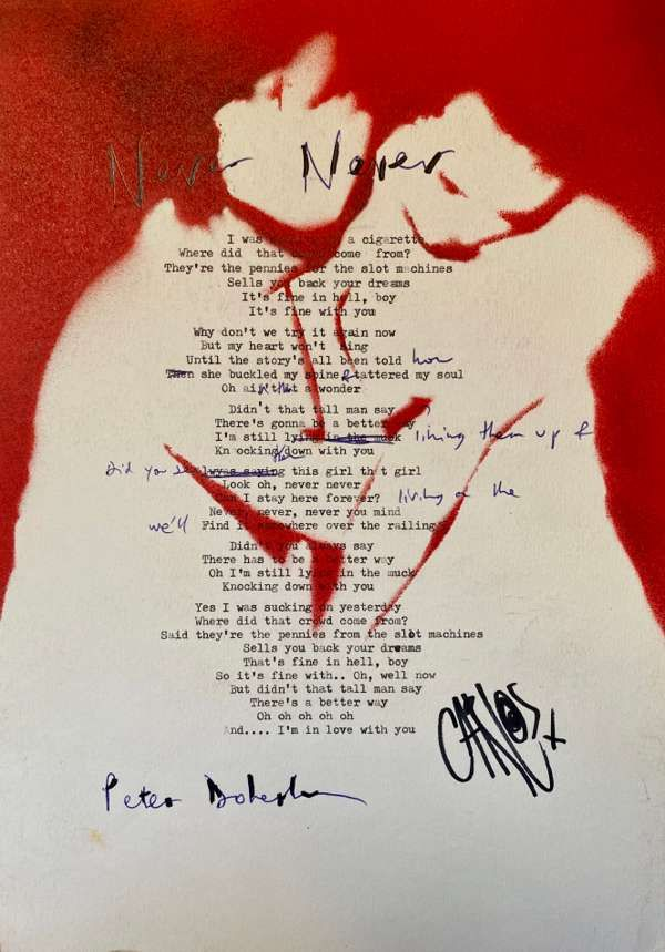 Never Never Lyric Sheet No.2 *Signed* - The Libertines