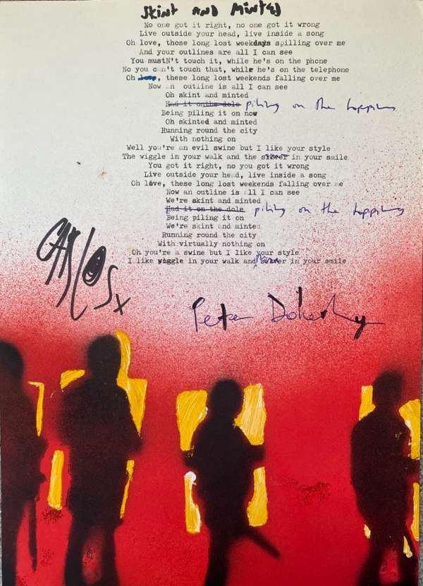 Skint And Minted Lyric Sheet No.1 *Signed* - The Libertines