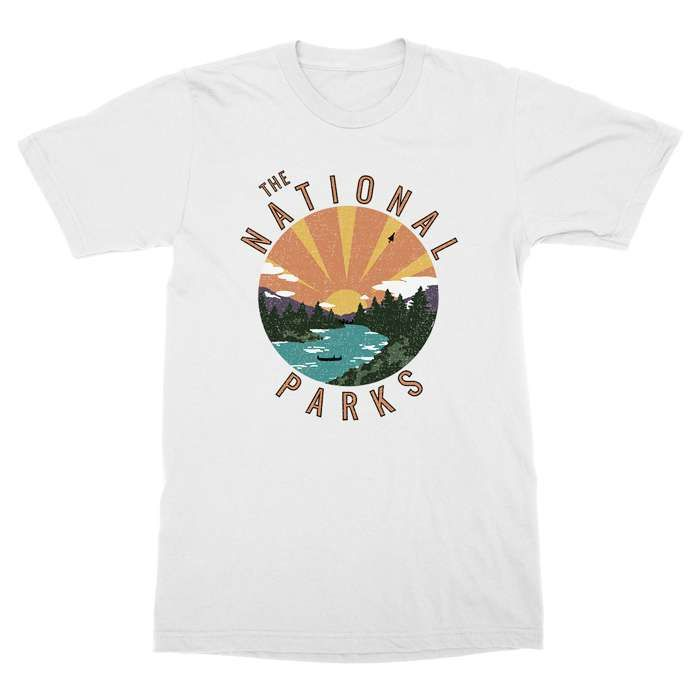 Vintage Sunset - White tee - The National Parks