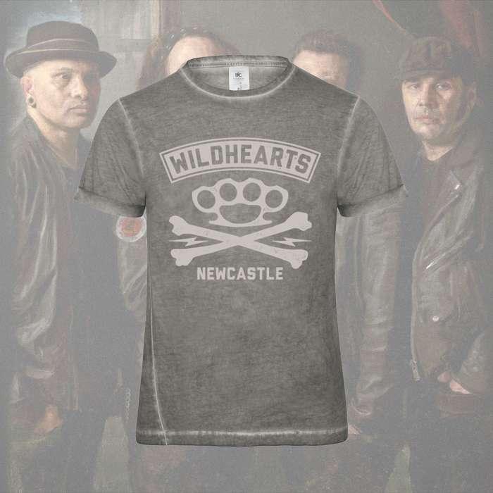 8b268ade7211 The Wildhearts - 'Crossbones' Light Grey Print T-Shirt - The Wildhearts