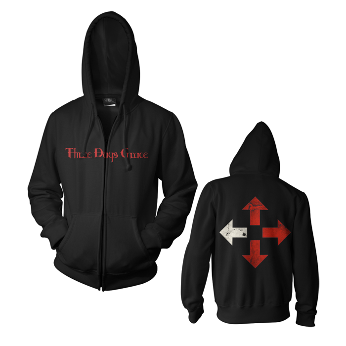 Logo - Black Zip Hood - Three Days Grace