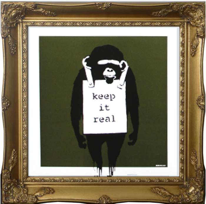 """Laugh Now / Keep it Real"" BANKSY Olive (Framed) - DJ Trendy wendy"