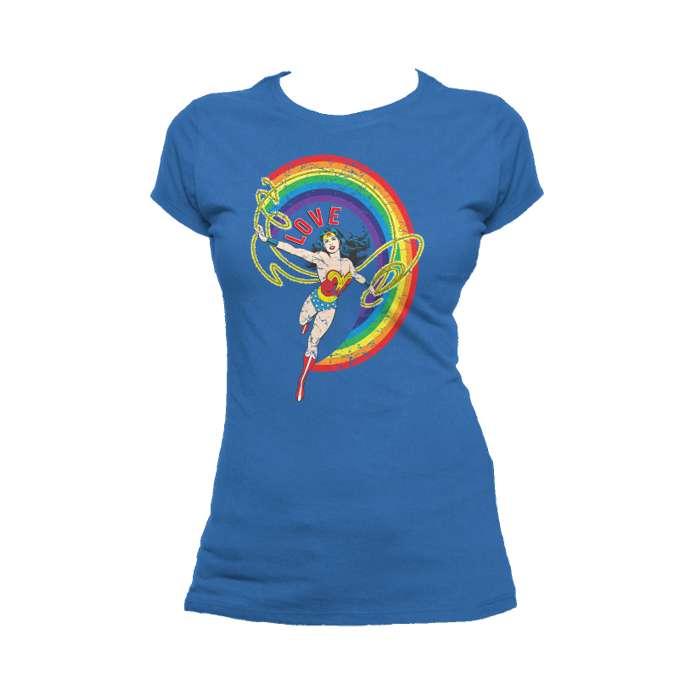 6f6583338fd9 DC Comics Wonder Woman Rainbow Love Official Women's T-shirt (Royal Blue) -  Urban Species