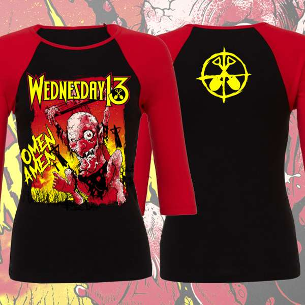 Wednesday 13 - 'Omen Amen' Girls Raglan T-Shirt - Wednesday13