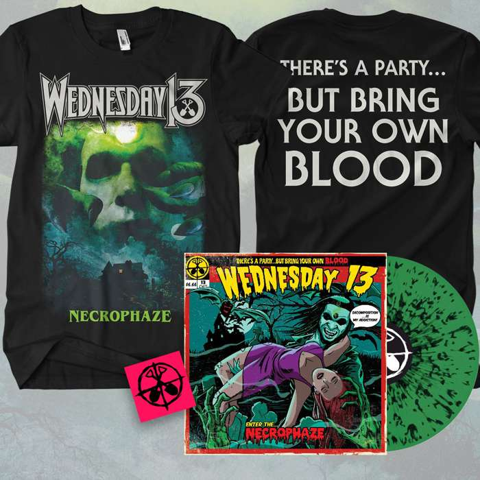 Wednesday13 - 'Necrophaze' Green & Black Splatter LP & T-Shirt Bundle + FREE STICKER - Wednesday13
