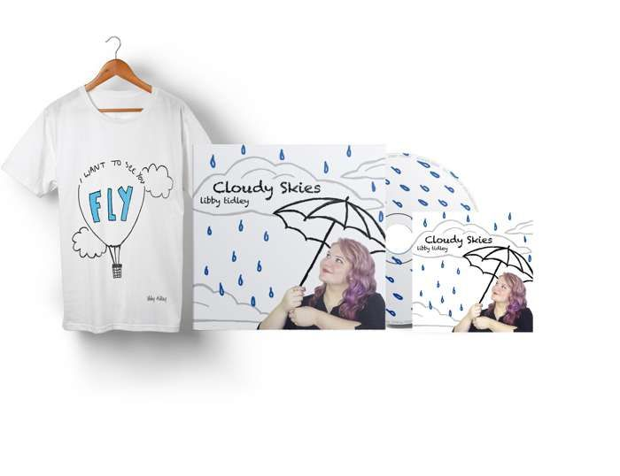 I Want To See You Fly T-shirt + Cloudy Skies EP (CD+DIGITAL) - We're Not Just Cats Records