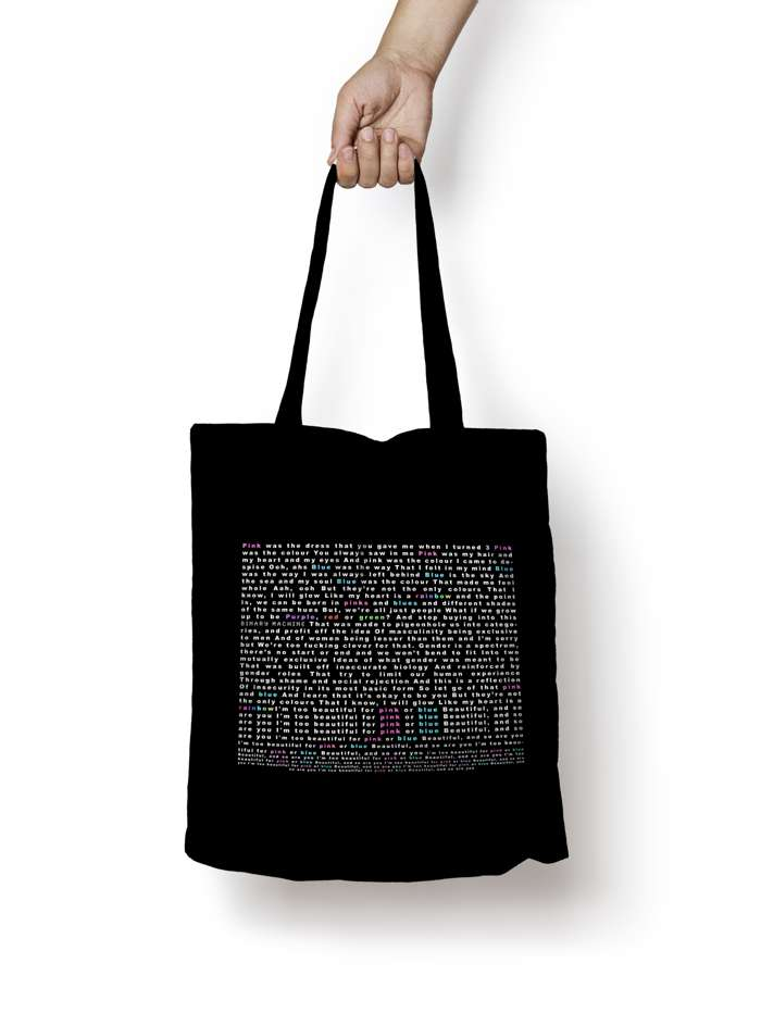Pink & Blue Lyric Tote - We're Not Just Cats Records