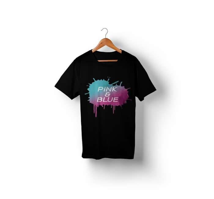 Pink & Blue Paint Splatter T-Shirt (Black) - We're Not Just Cats Records