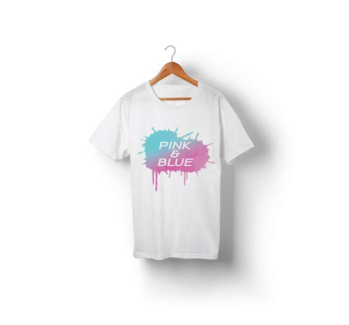 Pink & Blue Paint Splatter T-Shirt (White) - We're Not Just Cats Records