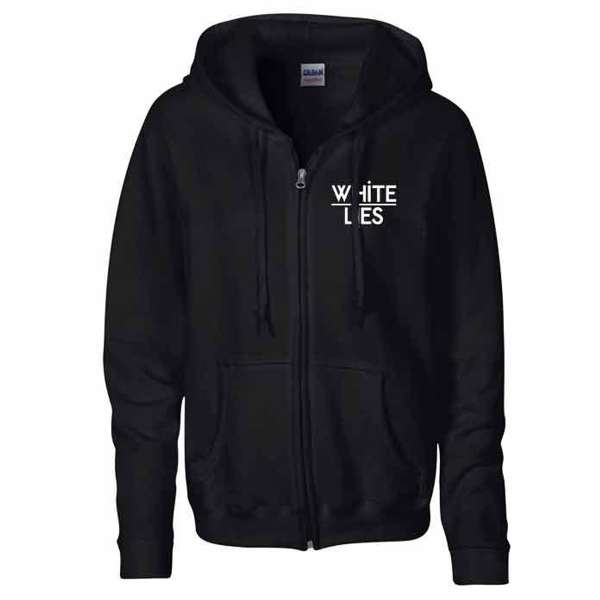 'Logo' Black Zipped Hoodie (Small) - White Lies