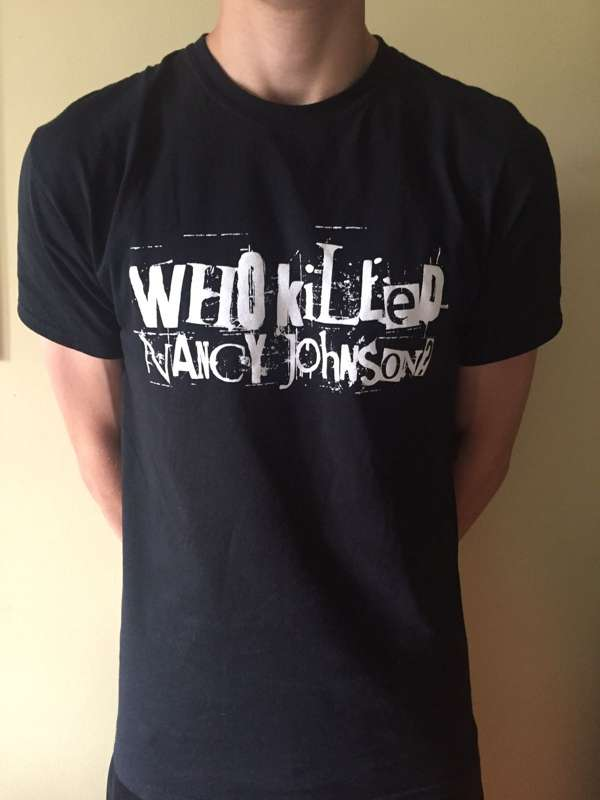 Black screen-printed adult t-shirts with WKNJ logo - Who Killed Nancy Johnson?