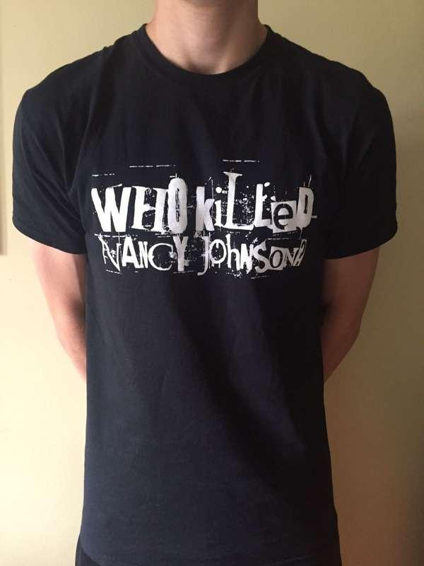Black screen-printed adult t-shirts with WKNJ logo - Who Killed Nancy Johnson?