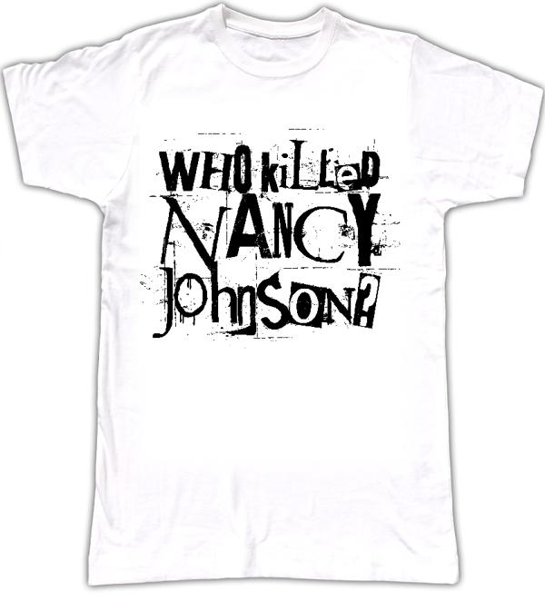 WKNJ? men's logo T-shirt style 1 - Who Killed Nancy Johnson?