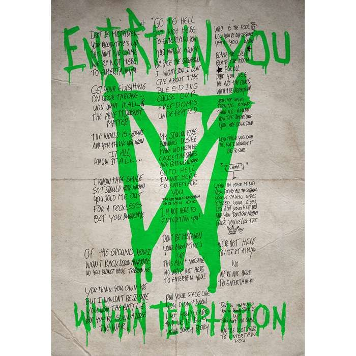 Entertain You Lyric Sheet - A4 Double Sided Print - Within Temptation