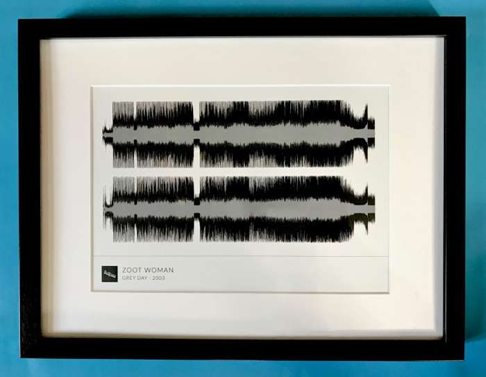 'Grey Day' Framed Waveform Artwork (BLACK FRAME) - Zoot Woman