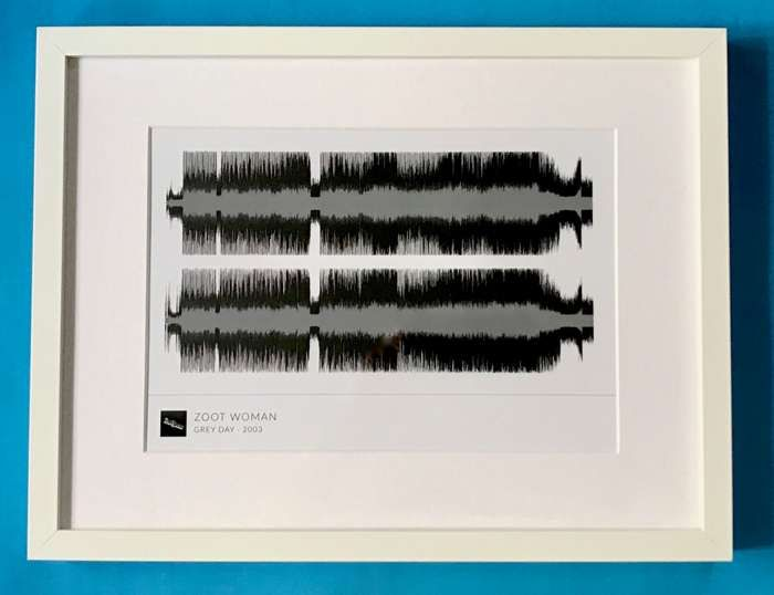 'Grey Day' Framed Waveform Artwork (WHITE FRAME) - Zoot Woman