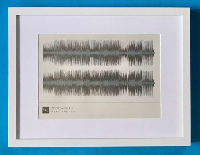 'It's Automatic' Framed Waveform Artwork (WHITE FRAME) - Zoot Woman