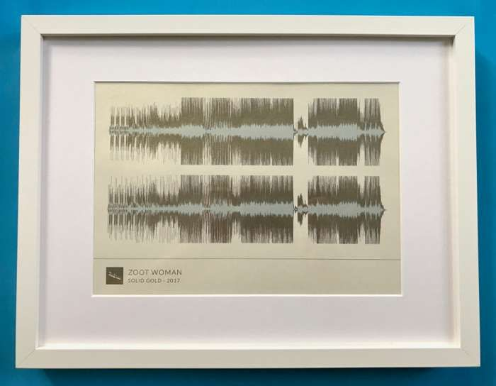 'Solid Gold' Framed Waveform Artwork (WHITE FRAME) - Zoot Woman